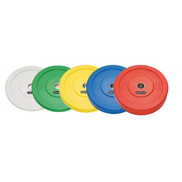 Pesi a disco  DIAMOND  Disco Olimpionico Bumper Sfida 5 Kg - Bianco